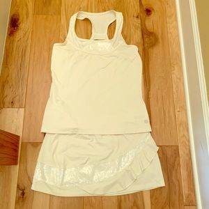 Lija  cream colored sequined tennis outfit
